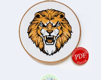 Roaring Lion | Digital Download | Cross Stitch Pattern |