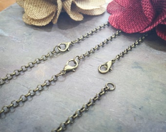 50 Antique Brass ROLO Necklaces / 3.0mm Links / Lobster Clasp / 18 20 22 24 Inch / Charm Bracelet Chain / Jewelry DIY BULK / ZF120-50