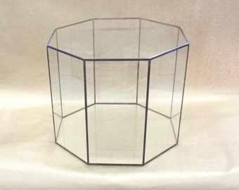 Octagon Glass Hat Box Display Case - for special treasures