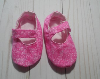 Pink and White Floral Mary Jane Baby Shoes