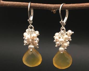 Yellow Chalcedony Cluster Earrings, pearl cluster earrings, sterling Silver, earrings under 100