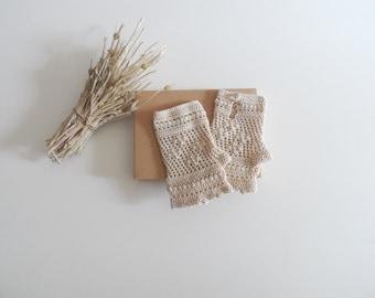 Crochet Lace Gloves, Cotton Fingerless Gloves, Ecru Lace Gloves, Crochet Mittens, Wedding Gloves, Bridal Lace Gloves, Cotton Lace Gloves
