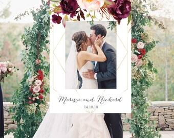 Geometric Photo Booth Frame Wedding Photo Prop Floral Wedding Sign Printable Wedding Photo Frame, Marsala, Photo Booth Props