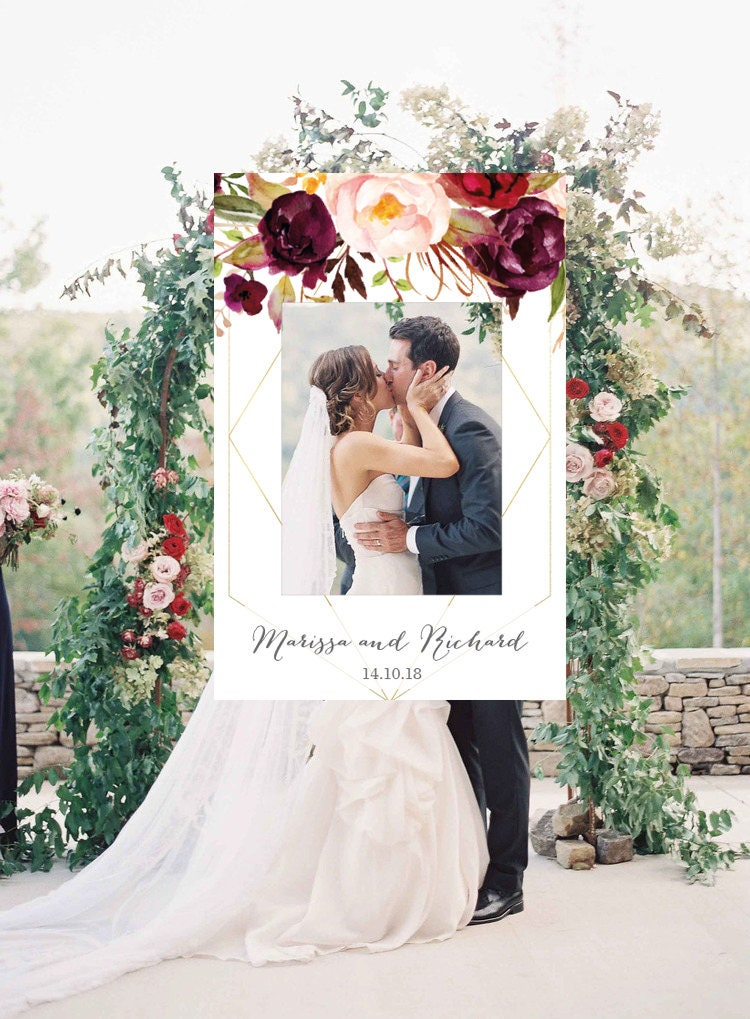Geometric Photo Booth Frame Wedding Photo Prop Floral Wedding