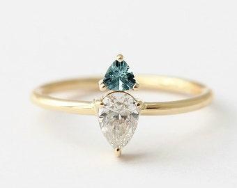 Pear Diamond Ring, Trillion Teal Sapphire Engagement Ring, Sapphire Ring Gold, Diamond & Sapphire Engagement Ring, Triangle Sapphire Ring