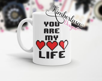 gamer mug | you give me life | valentines day gift| health mug | 8 bit heart mug | couples mugs | geek mug | nerd mug | video game mug