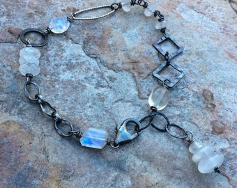 MOONSTONE bracelet asymmetrical, sterling silver, white gemstone jewelry, Angry Hair Jewelry, handmade, artisan