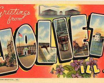 Joliet Illinois Large Letter Vintage Postcard (unused)