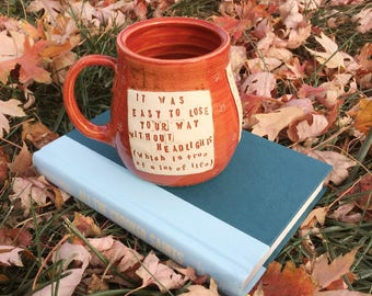Quote Mug, All the Crooked Saints, Maggie Stiefvater, Autumn Red, Stars -Handmade by Daisy Friesen