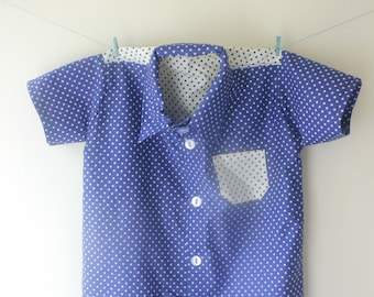 Blue and white spotty shirt, spotty shirt, dotty shirt, contrasting shirt, baby shirt, button down shirt, toddler shirt, party shirt