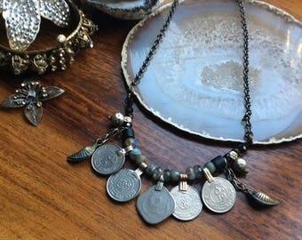 Petite Tribal Layering Necklace - Metal & Magick Collection - Tribal Fusion Bellydance ATS Kuchi Boho Gypsy Festival