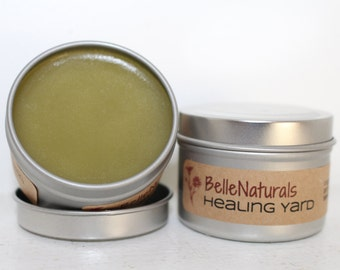 Healing Yard Balm - Herbal Salve with Comfrey & Plantain, Wildcrafted Herbs, Infused Oil, natural healing for cuts and scrapes, diaper cream