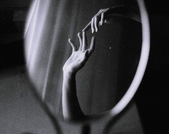 Hands in a mirror A4 glossy fine art print