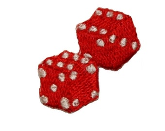 ID 0057B Pair of Red Dice Patch Gambling Casino Embroidered Iron On Applique