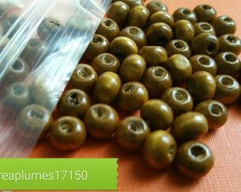 Set of 200 coffee Brown wood beads, 6mm