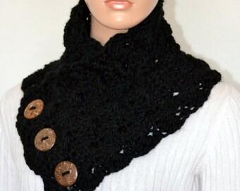 Black Crochet Neck warmer/ Black Crochet Cowl/ Shell Neck Warmer