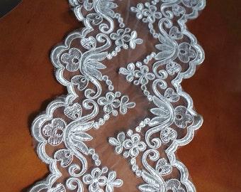 ivory alencon Lace Trim, cord lace, burlap lace fabric