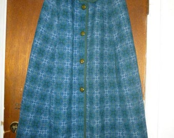 Womens Vintage Reseta of Wales Wool Cape Blue Green