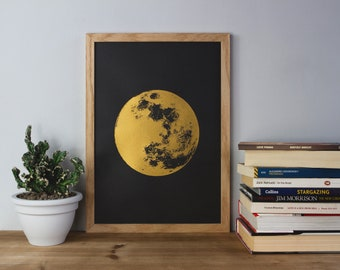 Moon Print, Gold Print, Reflection Moon, Boho, Bohemian, fathers day, A3 Art Print, Prints, Screenprint, Gift Idea, Print, Reflection