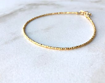 Tiny Gold Nugget Bracelet or Anklet | 24k Dipped Karen Hill Tribe Silver Nugget Bracelet or Anklet