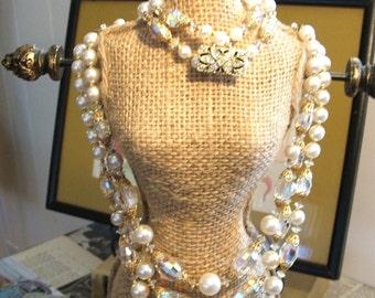 ON HOLD Mad Men Aurora Borealis Stunning Vintage  Necklace and Bracelet