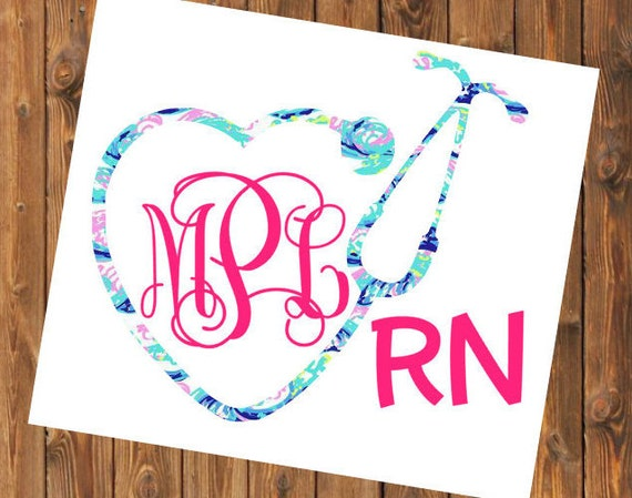 Free Shipping- Blue Waves Lilly Pulitzer Inspired Monogram Decal, Nurse, Nurse Practitioner, RN, LVN, LPN,Yeti, Laptop, Stethoscope, Rtic