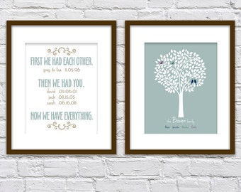 First We Had Each Other, Then We Had You/ Family Dates/ Family Tree with Bird/ Anniversary Gift/ Personalized Housewarming Gift/ - two 8x10s