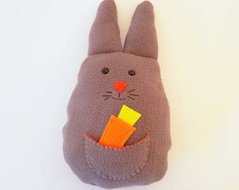 Easter Bunny, Easter Gift, Personalized Easter Bunny Toy, Rabbit Toy, Stuffed Animal Toy, Fleece Bunny Rabbit, Soft Toy, Bunny with a Carrot