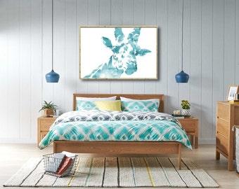 Giraffe Watercolor, Giraffe Printable, Digital Giraffe, Giraffe Wall Art, Giraffe Art, Large Printable, Nursery Wall Decor, Bedroom Decor