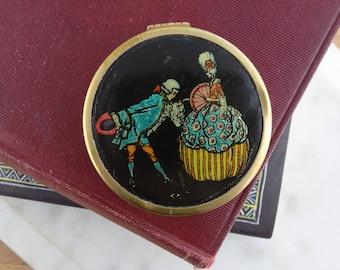 Pretty Vintage Small Brass Powder Compact Mirror, Victorian Man & Woman