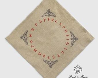 Embroidered rune cloth. Raven. Rune casting cloth. Elder Futhark. Celtic style. Divination rune cloth. Witchcraft. Asatru. Odinism. Galdor
