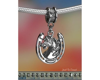 Horseshoe with Horse Charm or European Charm Bracelet Sterling Silver