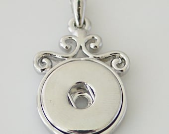 KB0231  Silver Plated Snap Charm Pendant with Filigreed Top ~ With or Without Chain