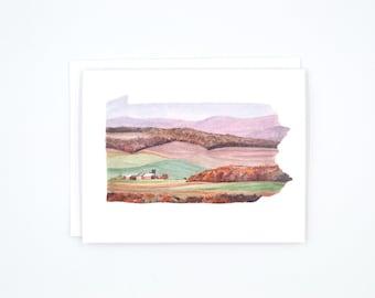 Pennsylvania Notecard - Blank Notecards - Watercolor Notecards - Penn State - Pennsylvania Gift - Lancaster County -  Wanderlust Notecard
