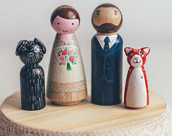 Wedding Cake Toppers with dog. Peg Doll cake topper. Custom wedding cake topper. Wedding cake toppers with cat, dog.Cake topper