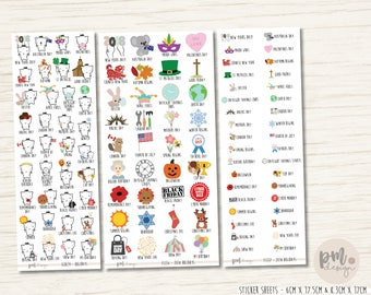 2018 Holiday and Observances - Planner Stickers - ECHE34-FS136-FS137