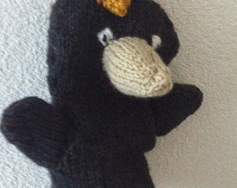 dutch knitted  poo mole hand puppet, puppet poo,
