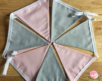 Dove Grey and Pale Pink Bunting