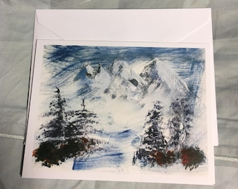 Note Card Snowy Mountain 2