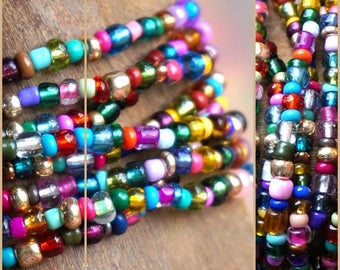 MOROCCAN NIGHTS bracelet, Colorful 8 x stretch Hippy Gypsy bracelet, ready to ship, bright glass beads, 132 cm long