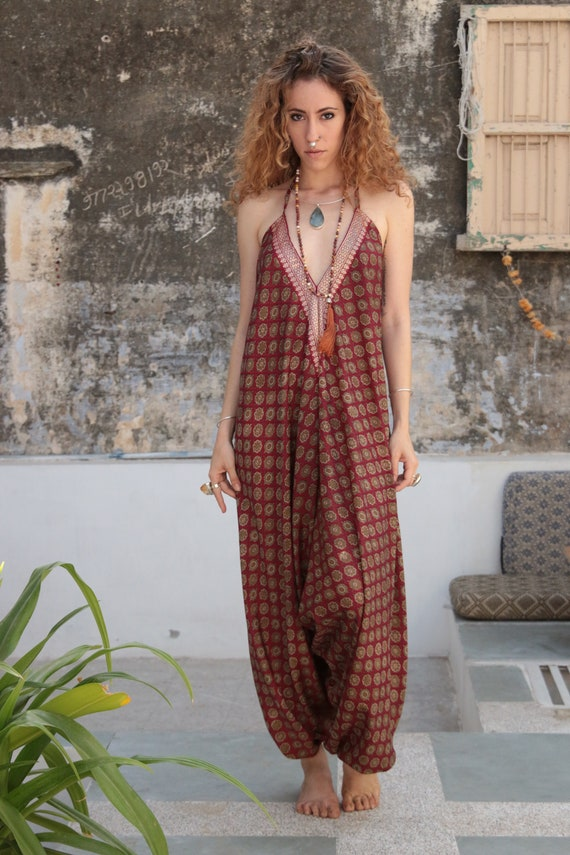 RUBY SPARROW JUMPSUIT - Indian Floral - Block print - Handmade - Vintage Sari fabric - Festival - Hippie - Halterneck - Couture - Upcycled