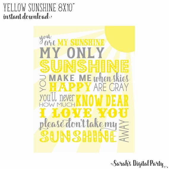 8x10 Yellow and Gray You are my sunshine Nursery Wall Art