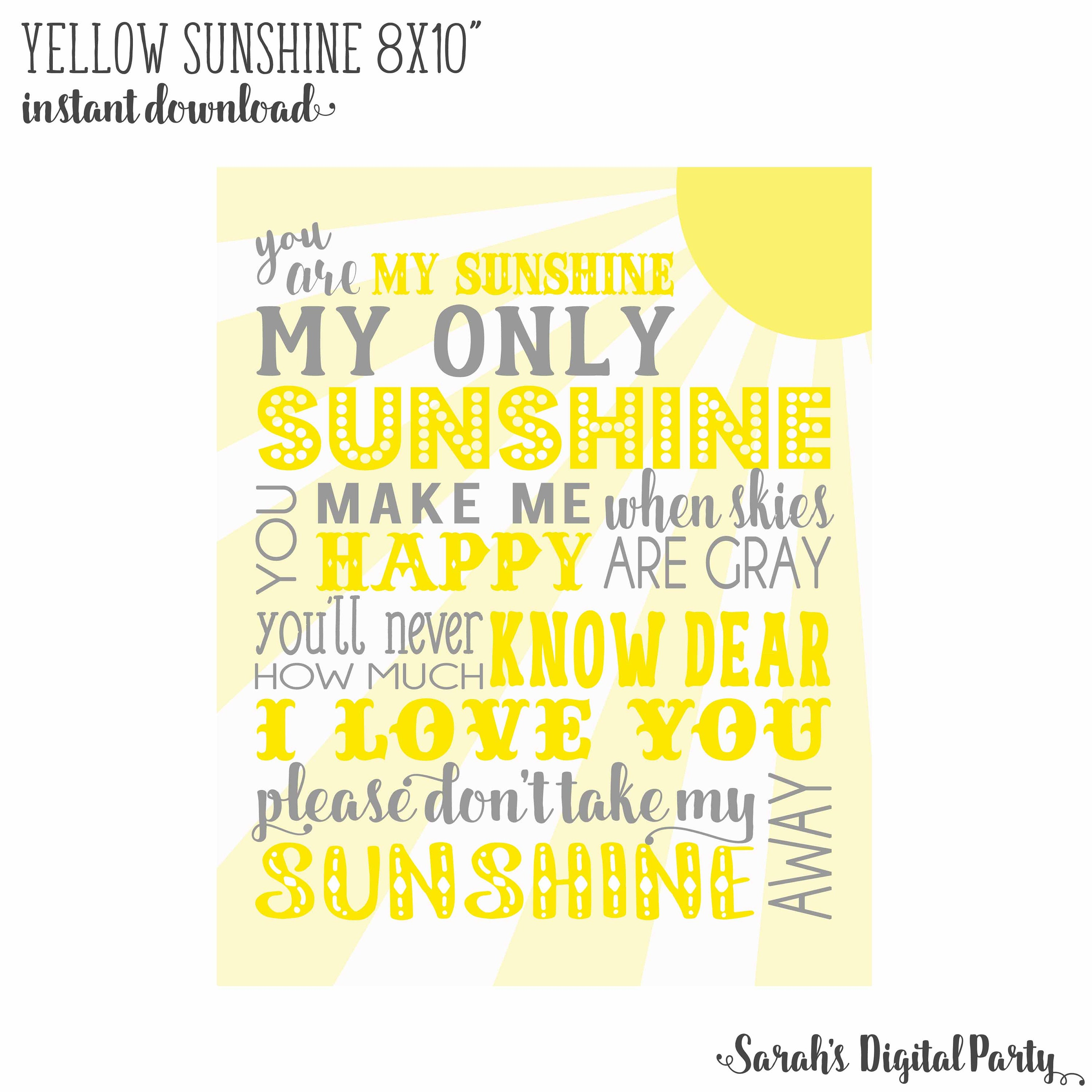 8x10 Yellow and Gray You are my sunshine Nursery Wall Art