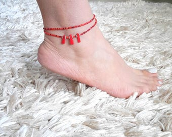 Coral anklet, red anklet, foot bracelet, beach,summer jewelry,Bohemian,Gift,luck, Double Wrap