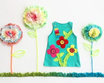 Girl's Dress, FLOWER Dress, FLOWER Clothing, Handmade Clothing, Applique Dress, Applique Clothing, Aqua Dress, Children's Dress