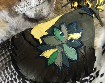 Greenman Smudge Fan -- prayer fan- for ritual or ceremony - pagan or native american style - natural feathers