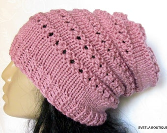 Chunky Knit Rose  Hat,   Slouchy Pink Hat,  Woman knit, slouchy hat , Chunky, Beret, Holiday Hat,Oversized Hat,