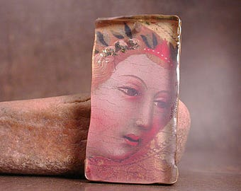 Handmade Artisan Mixed Media Resin Pendant, Rustic Resin Angel Face Pendant, Divine Spark Designs, SRA