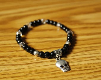 Black and Silver Alien Skull Beaded Bracelet