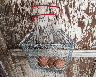 French Wire Hanging Egg Basket Collapsible & Expandable  Red Handles Mid Century